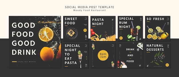 Restaurant sociale media post sjabloon Gratis Psd