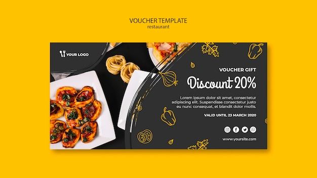 Restaurant voucher sjabloon Gratis Psd