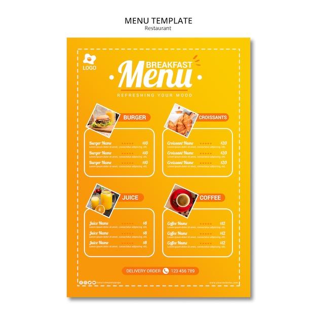Restaurante atractivo menú plantilla en línea PSD gratuito