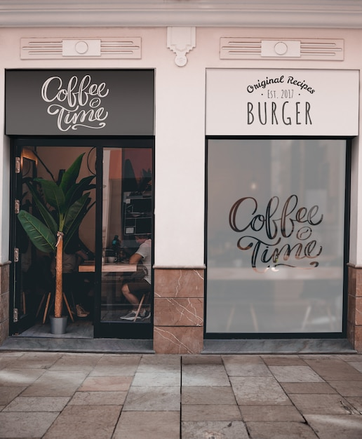 Restaurante de café y hamburguesas PSD gratuito