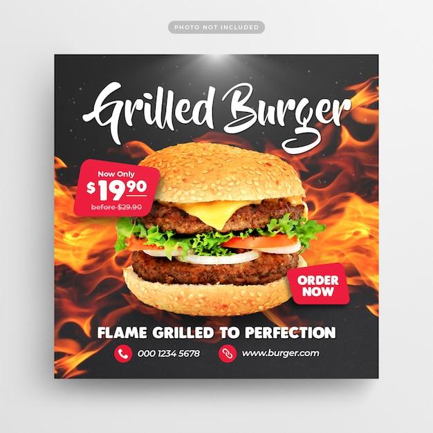 Restaurante de comida rápida burger publicación en redes sociales y banner web PSD Premium