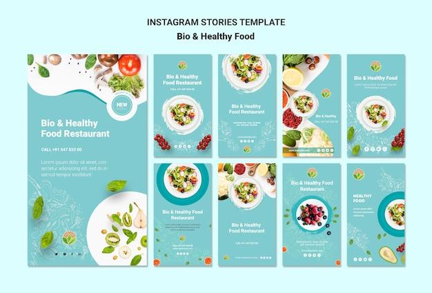 Restaurante con historias de instagram de comida saludable PSD gratuito