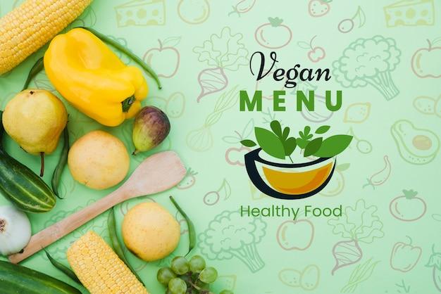 Restaurantmenu met groenten en exemplaarruimte Gratis Psd