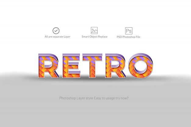 Retro 3d abstract teksteffect Premium Psd