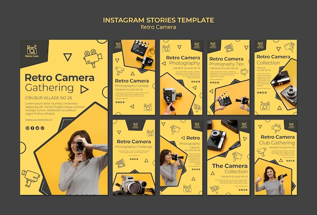 Retro camera instagramverhalen Gratis Psd