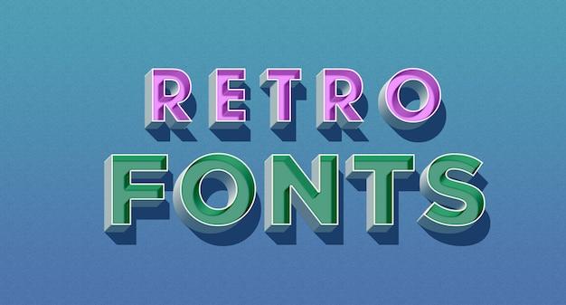 Retro caratteri 3d effetto stile testo Psd Premium