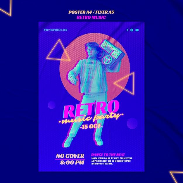 Retro muziek partij poster sjabloon Gratis Psd