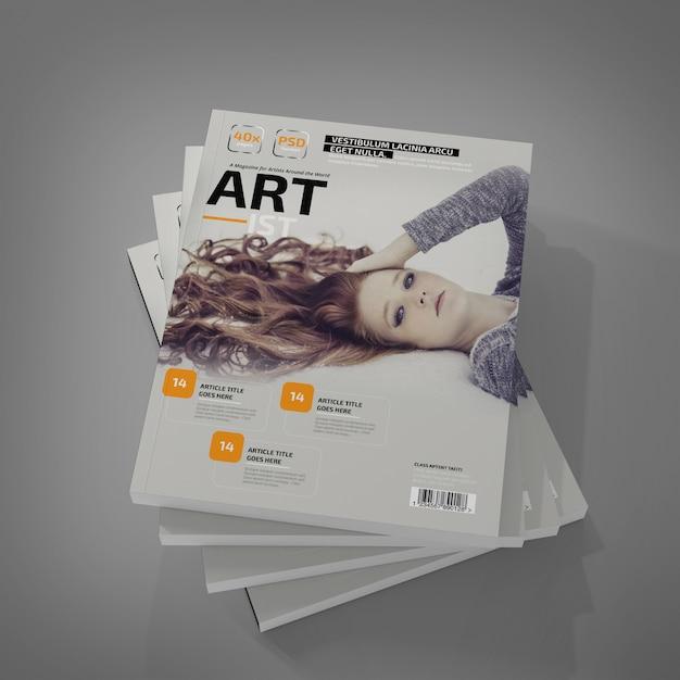 Revista fotorrealista maqueta PSD Premium