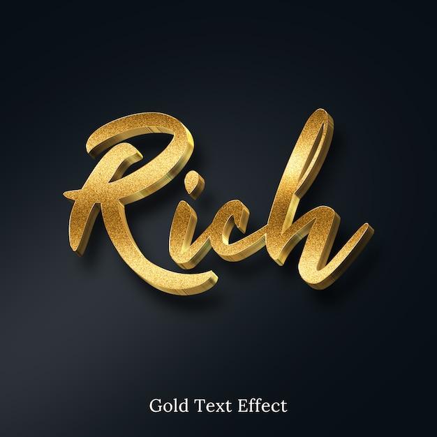 Rijk gouden glitter 3d-tekststijleffect Premium Psd