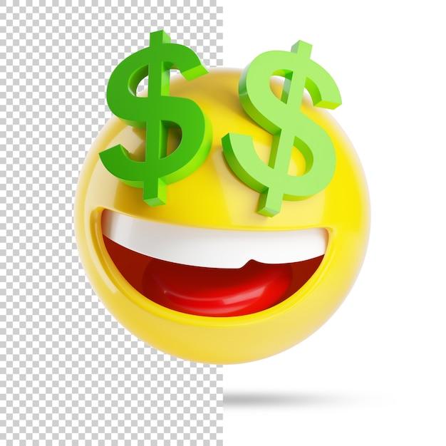 Rijke emoji met dollars, 3d Premium Psd