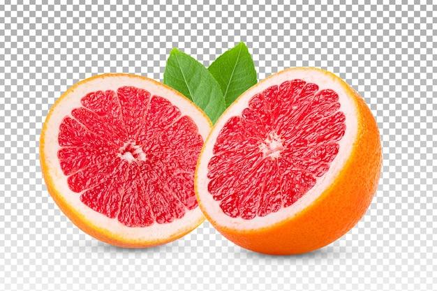 Rijpe gesneden grapefruit geïsoleerd Premium Psd