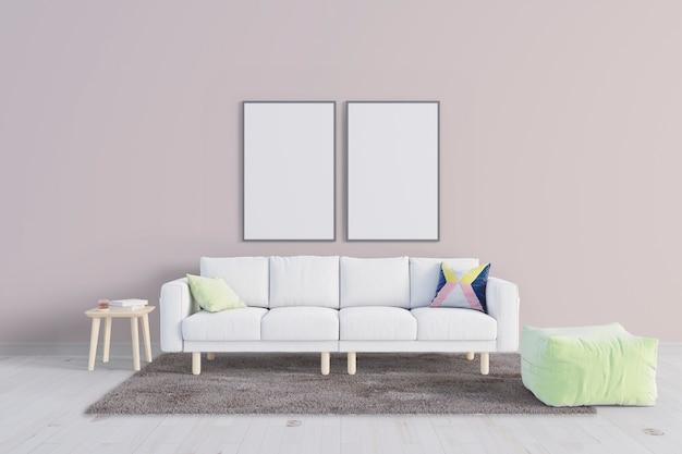 Rilassati soggiorno con mockup cornice in tela Psd Premium