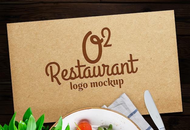 Ristorante logo psd gratuito mock up Psd Premium
