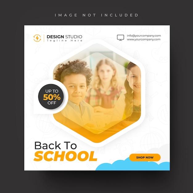 Ritorno a scuola sconto vendita per modello di post social media degli studenti Psd Premium