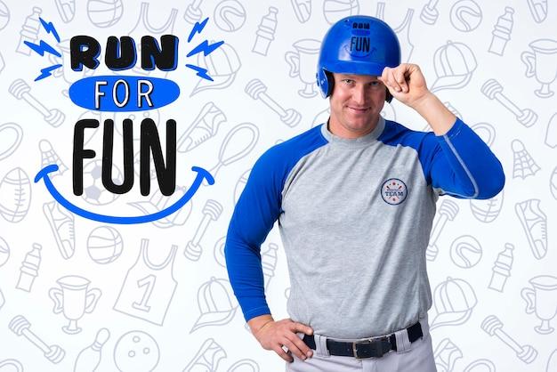 Ritratto del giocatore di baseball maschio Psd Gratuite