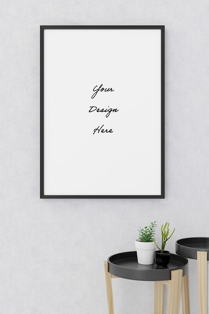 Ritratto poster frame mockup sullo stile minimalista di cemento muro di cemento Psd Premium