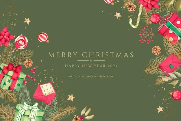 Rode en groene kerst achtergrond met cadeautjes en ornamenten Gratis Psd