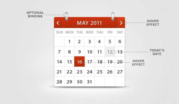 Rode en klassieke kalender in een psd gelaagde Gratis Psd