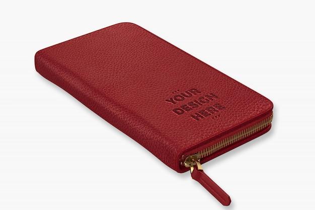Rode portemonnee mockup sjabloon Premium Psd