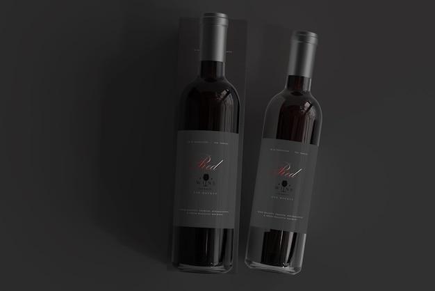 Rode wijnfles met doosmodel Premium Psd