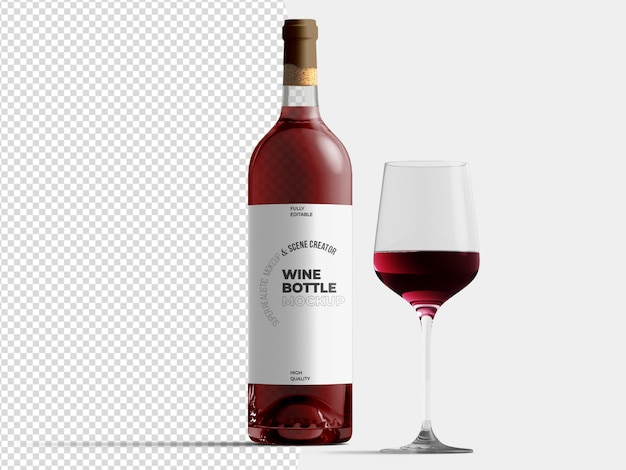 Rode wijnfles met glazen mockup sjabloon Premium Psd
