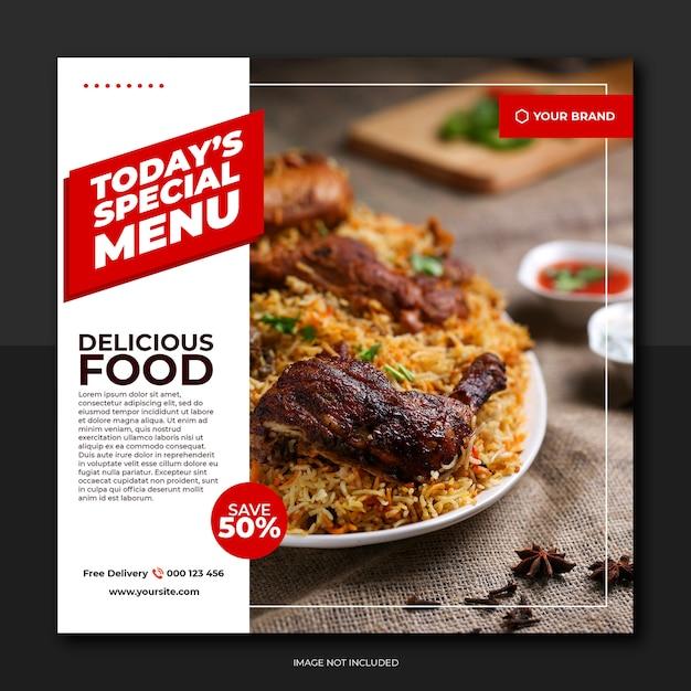 Rode witte stijl voedsel sociale media Premium Psd