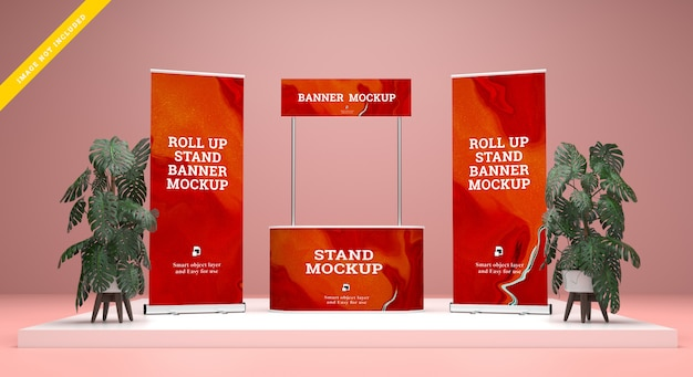 Roll up banner y stand banner mockup. modelo PSD Premium