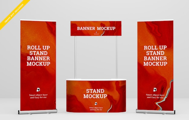 Roll up banner y stand banner mockup. plantilla psd. PSD Premium