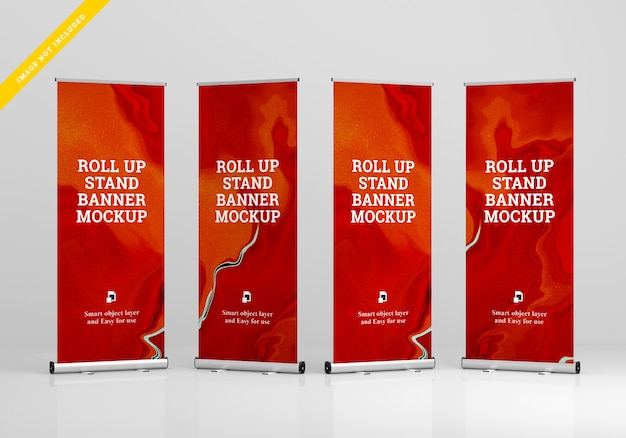 Roll up banner stand mockup. modelo . PSD Premium