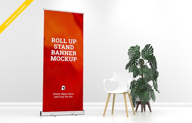 Roll up banner stand mockup. modelo PSD Premium