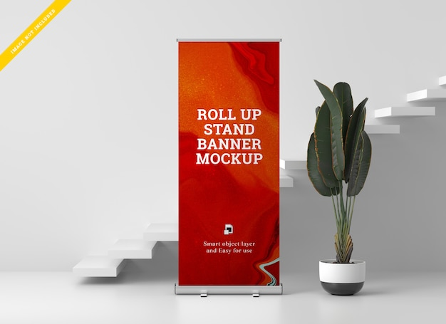 Roll up banner stand mockup. plantilla psd. PSD Premium