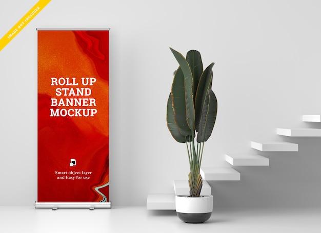 Roll up banner stand mockup. plantilla psd. PSD Premium