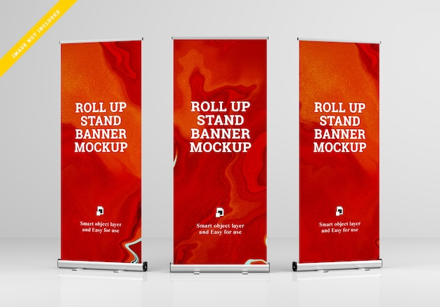 Roll up banner stand mockup. sjabloon psd. Premium Psd