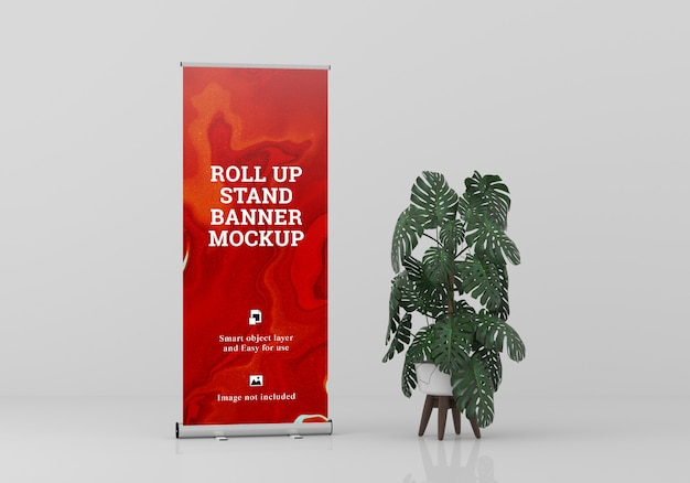 Roll up banner stand mockup PSD Premium