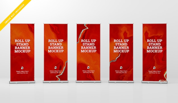 Roll up banner stand mockup. PSD Premium