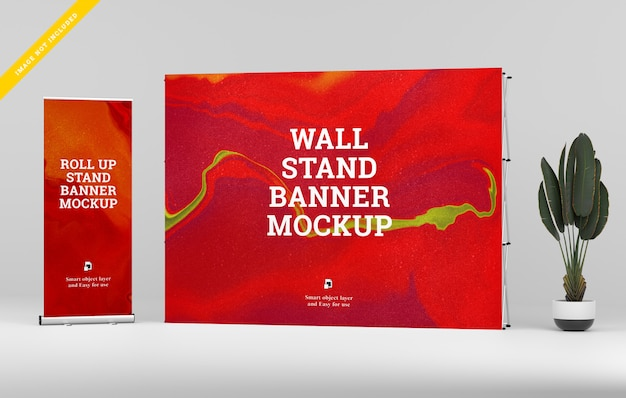 Roll up banner y wall stand banner mockup. PSD Premium