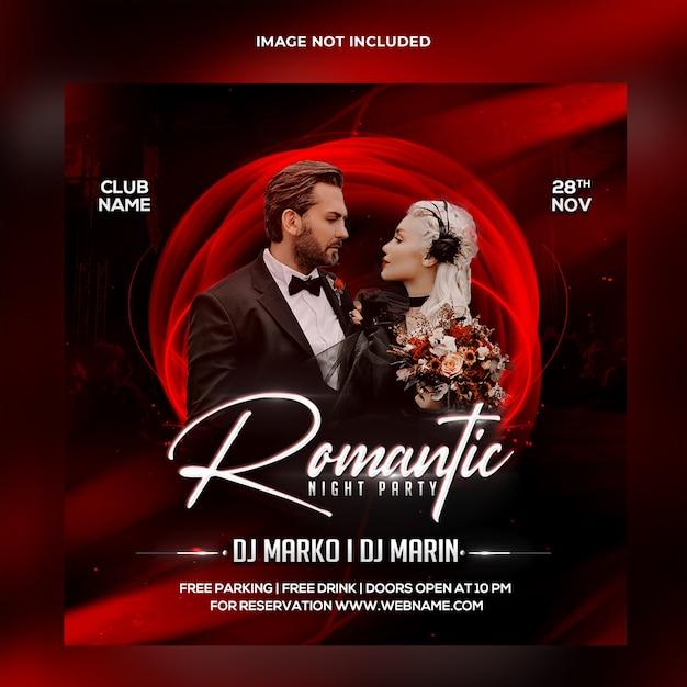 Romantische nacht partij sociale media post-sjabloon Premium Psd