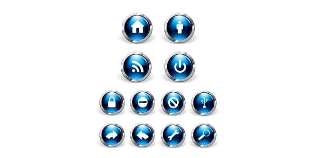 Rond blauw iconen ontwerp Gratis Psd