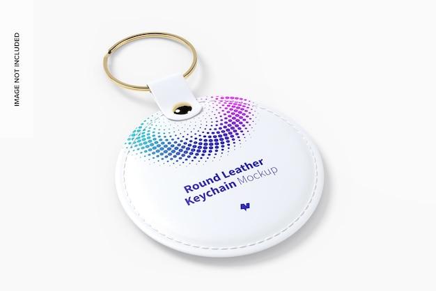 Ronde lederen sleutelhanger mockup Premium Psd