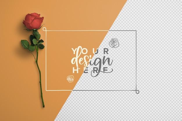 Rose su gambo sfondo mockup Psd Gratuite