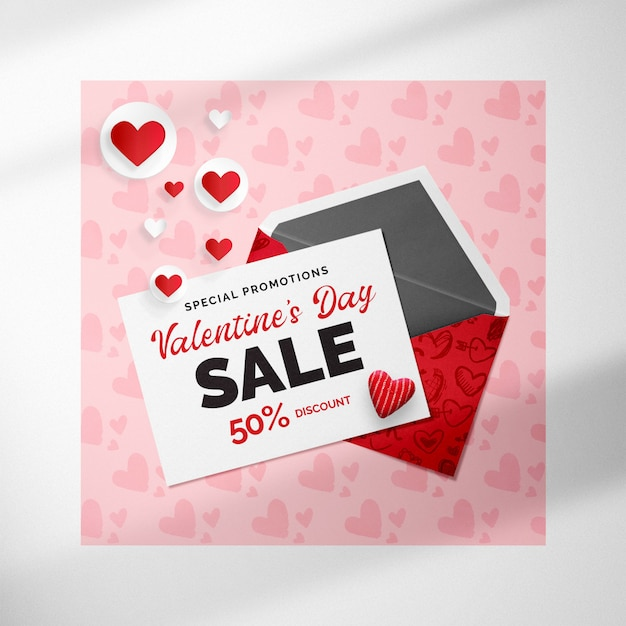 Rose valentijnsdag banner mockup met envelop en harten Premium Psd