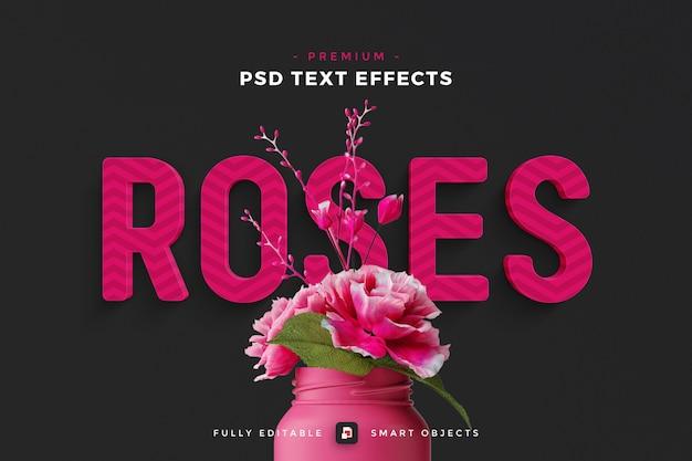 Roses text effect mockup Premium Psd