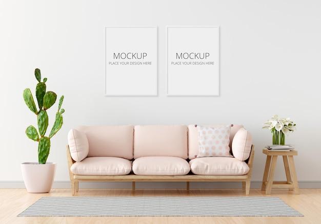 Roze bank in witte woonkamer met frame mockup Premium Psd