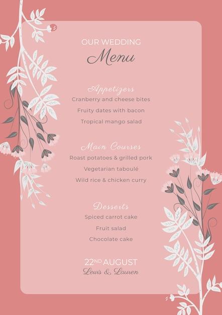 Roze bruiloft uitnodiging sjabloon met bloemen frame Gratis Psd