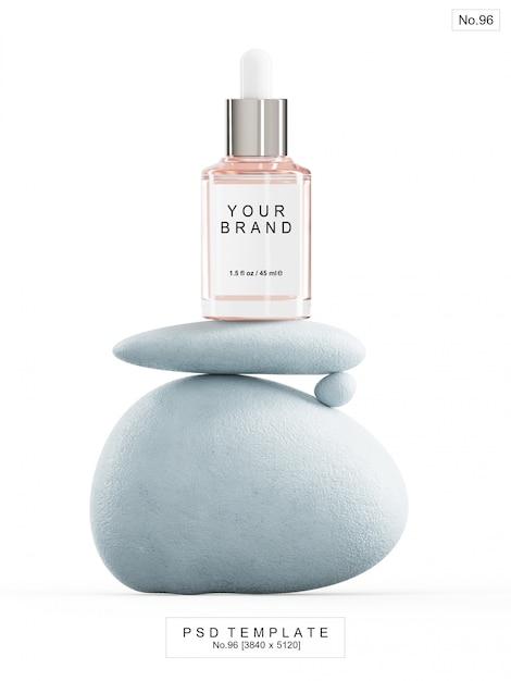 Roze serum met blauwe steen. 3d render Premium Psd