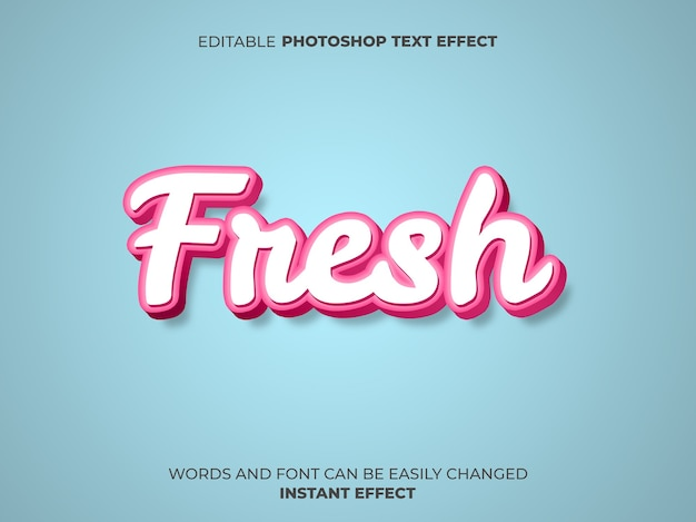 Roze teksteffect in frisse stijl Gratis Psd