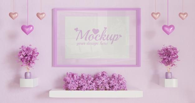 Roze verticaal kader op roze kleurenmuur met paar roze bladplanten op wit muurbureau Premium Psd