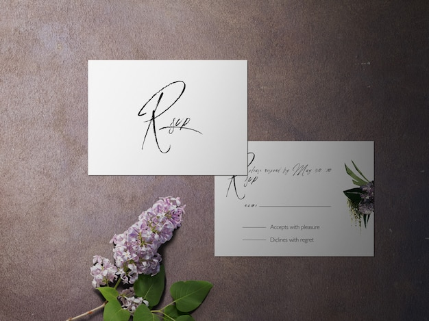 Rsvp-kaart, twee onder ogen gezien paarse themakaart van de bloem Premium Psd