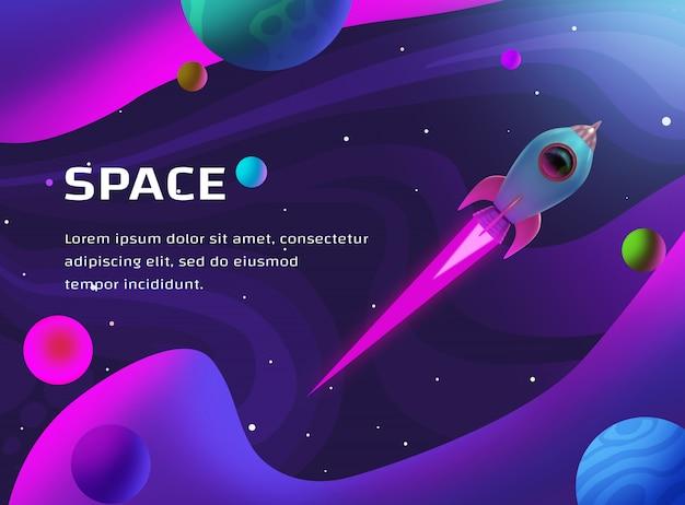 Ruimte illustratie met raket en planeten Premium Psd
