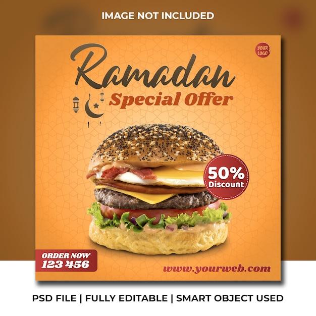 Rundvleesburger fastfood restaurant speciaal ramadan instagram sjabloon Premium Psd